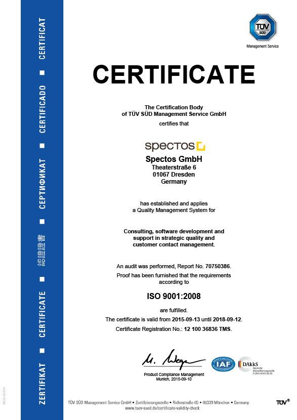 spectos quality certificate