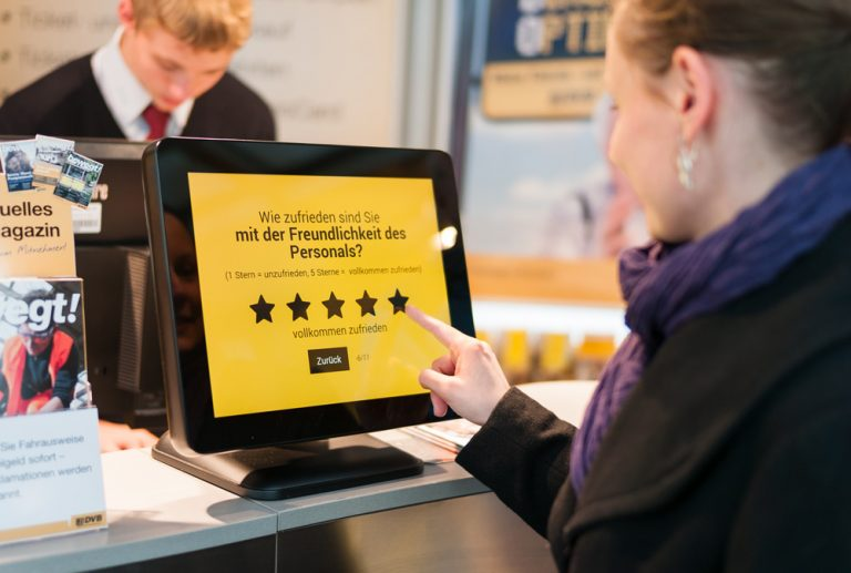 Feedback terminals for digital passenger surveys