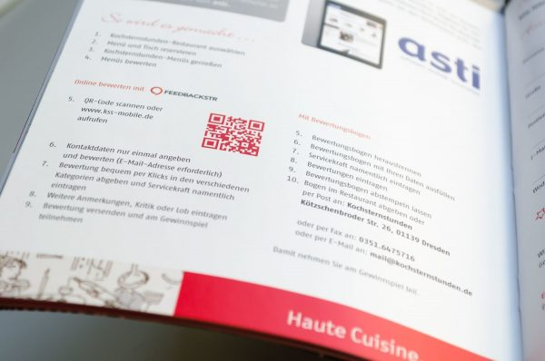 QR code for the evaluation of Kochsternstunden in the guest book