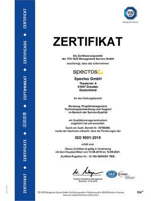 Zertifikat TÜV SÜD ISO 9001:2015