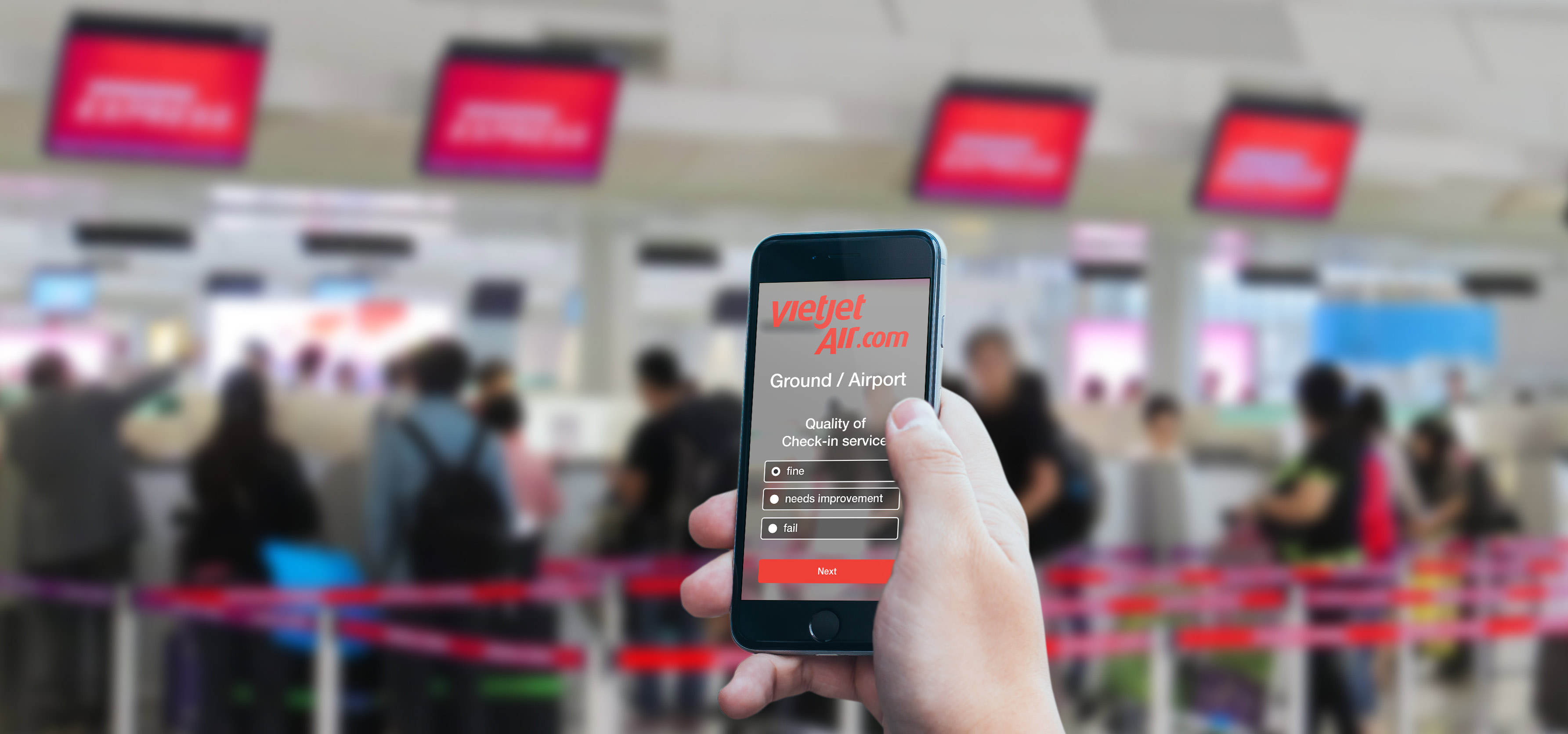 Smartphone with Vietjet Air Passenger Survey