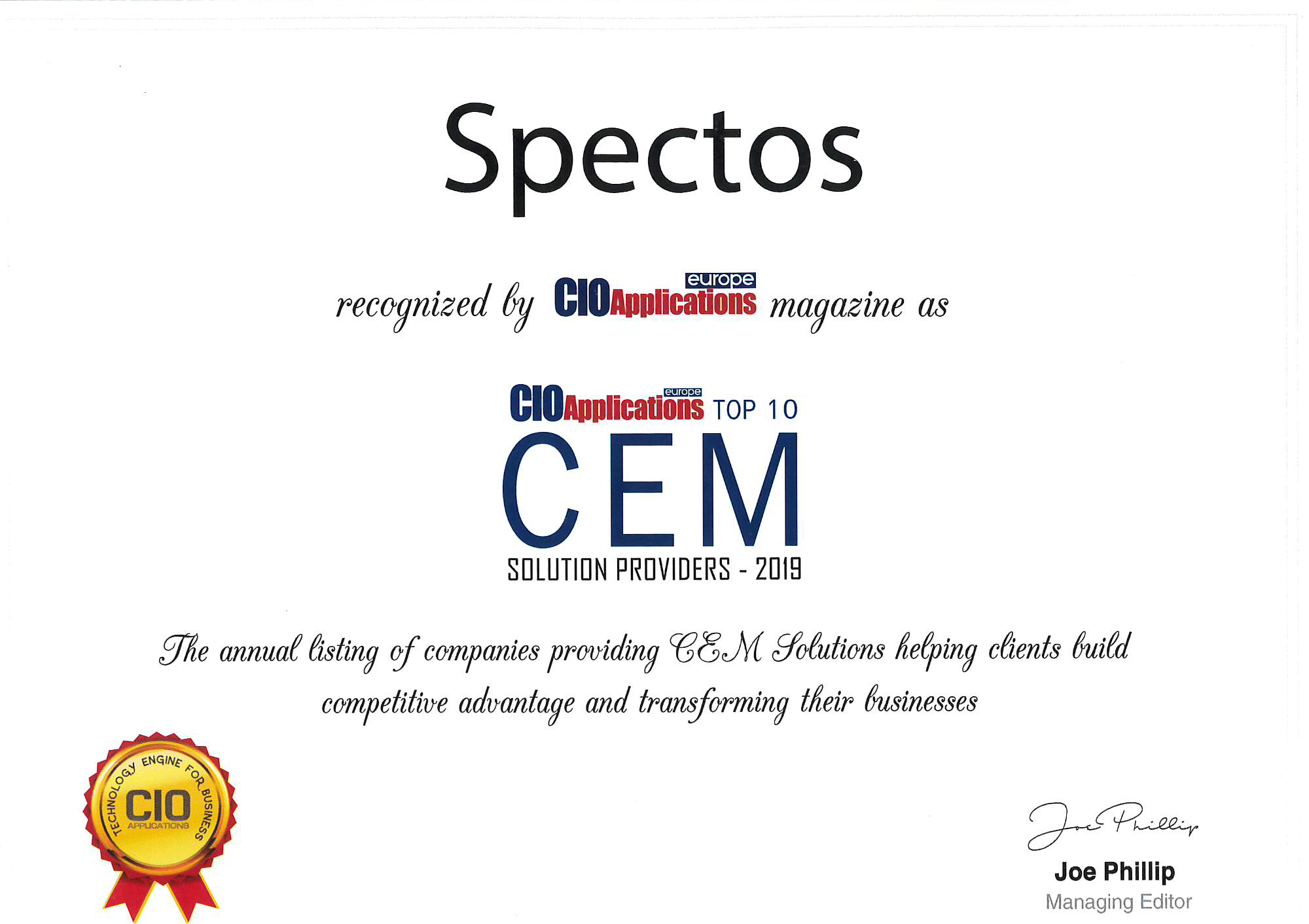 CIO Applications Europe names Spectos TOP CEM Customer Experience Management solution provider