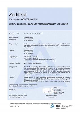 Spectos GmbH Zertifikat des TÜV Rheinlands für Laufzeitmesssysteme QPP