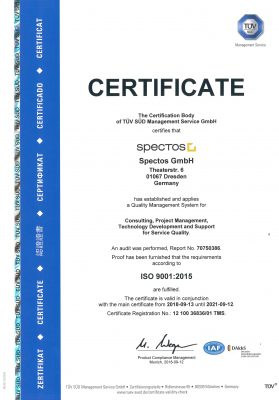 The Spectos certifications also include the certificate for ISO 9001:2015