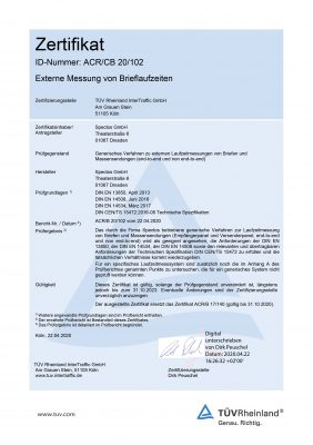 Spectos GmbH's certificate from TÜV-Rheinland for Generic Transit Time Measurement