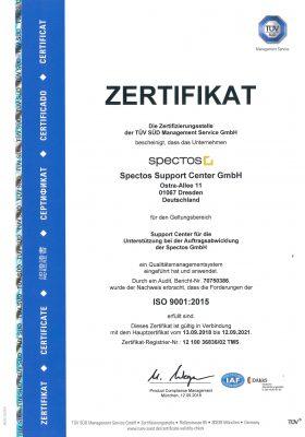 Die Spectos Support Center GmbH ist im Besitz einer Zertifizierung nach ISO 9001:2015