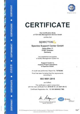 Spectos Support Center GmbH's ISO 9001:2015 certification from TÜV SÜD