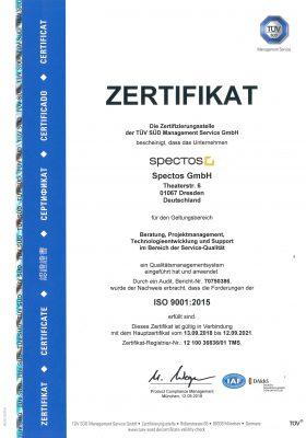 Zu den Spectos Zertifizierungen gehört auch das Zertifikat für IS0 9001:2015